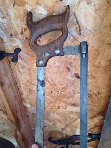 Antique Butcher meat saw with wood handle,