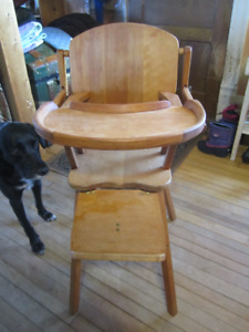 Vintage wooden child high chair solid clean refinished