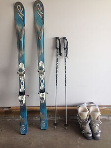Skis with Boots and Poles