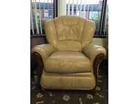 Cream Leather sofa set 3 seater plus 2 chairs