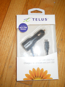 Telus Car Charger with USB Port for Micro USB Devices NEW