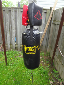 punching bag and 140 pounds of weights
