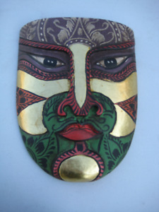 "Wood Mask & hand painted - size:  5'5""High x 4'5"" wide"