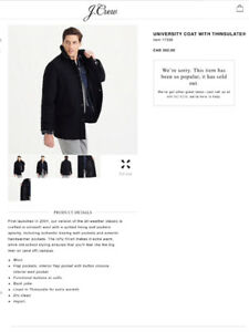 New, J Crew University Coat (jacket)