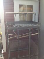large black parrot cage with play top