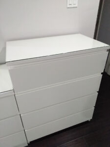 4 drawers white dresser with glass cover top- malm ikea