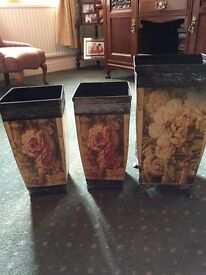Antique metal decorated holders