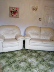 Cream Leather Comfy Suite 2 seater and chair