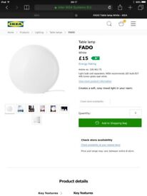 2 ikea white round table lamps