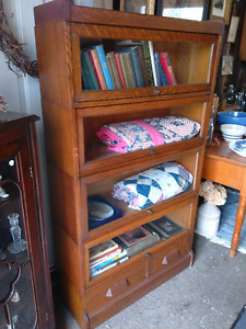 Beautiful Antique Stacking Bookcase - Solid Oak