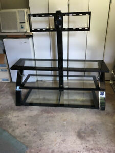 Tempered Black Glass and Metal TV stand