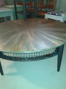 """Oak coffee table  41"""" diameter with shelf"""