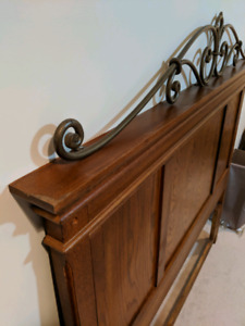 Solid Wood Queen Headboard and Side Table Set