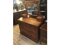Vintage solid oak dressing chest of drawers