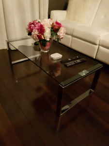 Glass coffee table and side table - Maison Corbeil