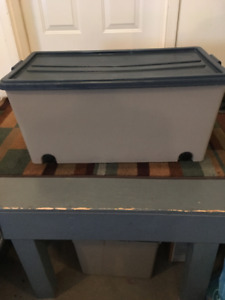Rolling Storage Box with Snap on Lid