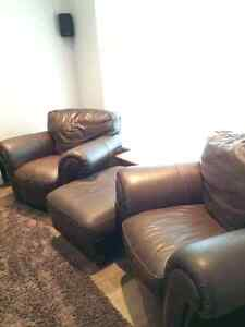 Brown Leather Club Chairs Campbell River Comox Valley Area image 1