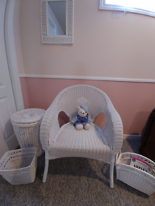 Wicker chair, matching mirror, mag rack, garbage can, hamper