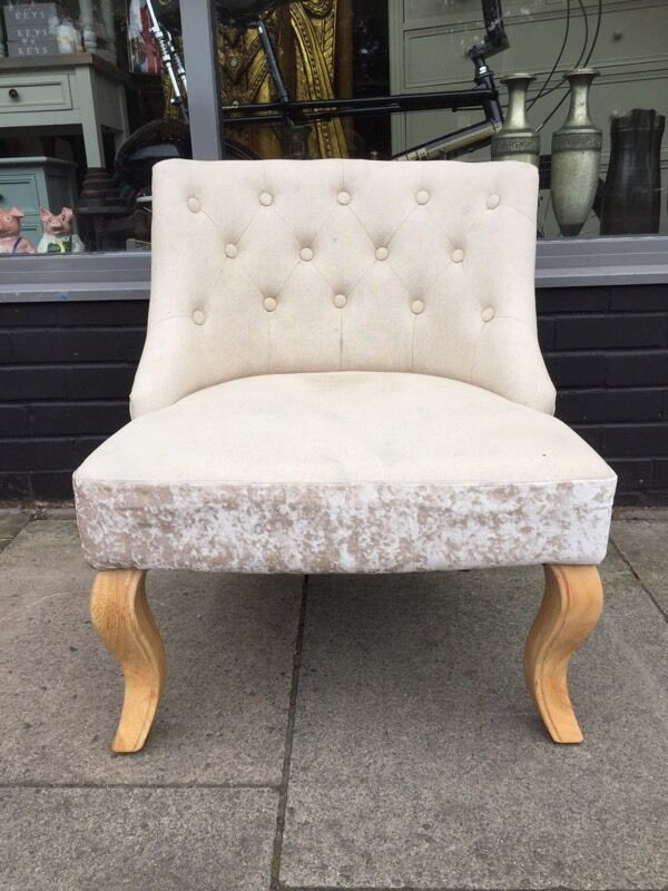 Cream Chesterfield Style On Back Bedroom Chair Crushed