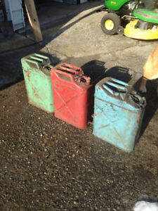 vintage metal jerry  cans
