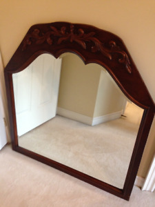 ANTIQUE VICTORIAN WOOD Frame BEVELLED Glass Mirror