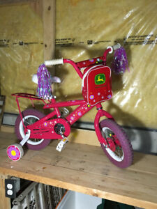 "Toddler girl tricycle and 12"" wheel John Deere Bike ($40 for bot"
