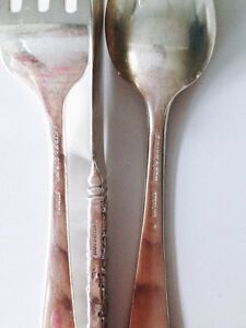 Sterling silver fork, knife and teaspoon in Repousse London Ontario image 3