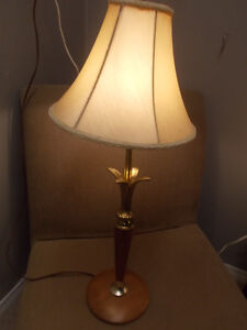 Mid century Lamp with Wood and Brass Base