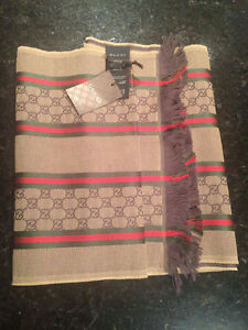 Gucci Monogram Scarf Beige NWT 100% Authentic
