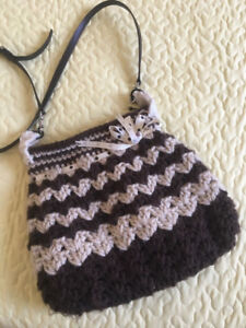 Crochet Cross over bag with leather strap!
