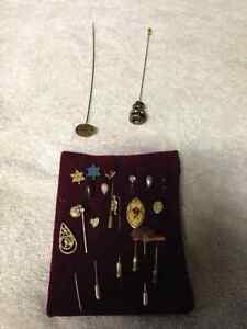 ANTIQUE HAT HAIR PINS AND PENDANTS - PARKER PICKERS -