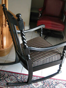 antique black rocking chair, barley twist, new modern upholstery