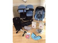 Bugaboo donkey duo. Ice blue with car seat. Exc con.£800