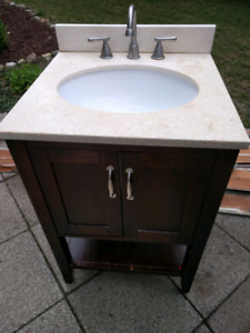 Marble Top Vanity With brushed metal Faucet