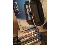 Sony PS Vita console - Boxed with 7 games - Uncharted, Fifa, Wipeout, Ridge Racer, Tennis etc