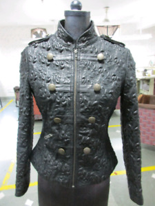 Black leather jacket with embroidery