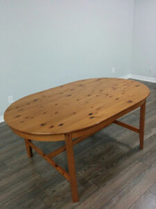 IKEA Solid Pine Oval Dining Table, antique stain