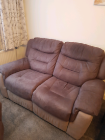 DFS Fabric 2 Seater Recliner Sofa In Two Tone Brown Colour