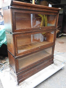 antique barrister bookcase, 3 glass levels, Macey, restored
