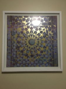 Framed Purple and Gold Wall Art