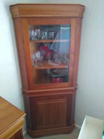 Cherry wood corner display cabinet