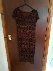 Red And Black Dress New Look Size 10