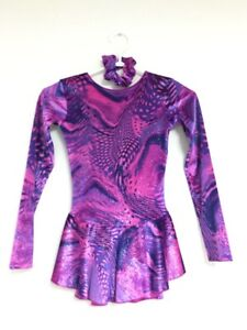 Figure Skating Dress - Pink and Purple Swirls