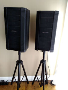 Bose powered speakers & tripod stands & 20ft XLR cables