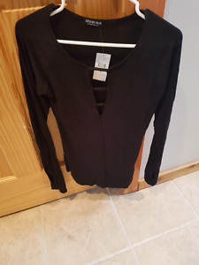 NWT Black long sleeve caged front