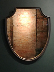 Vintage Shield Shaped Wall Mirror with Black and Gold Frame