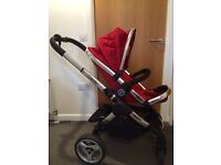 Icandy peach stroller carry cot, buggy & car seat (tomato) with added extras