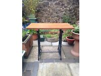 Rustic reclaimed restored sewing machine table