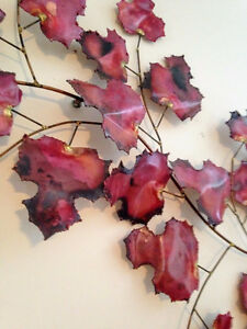 Curtis Jere Style MAPLE LEAVES Large Metal Wall Sculpture 40''