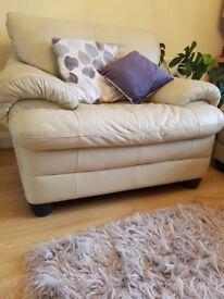 Cream Leather Sofa and Armchair